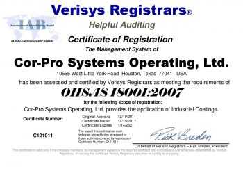2018-Cor-Pro Systems Operating, Ltd. OHSAS 18001 2007 Certificate 1-14-2021-page-001