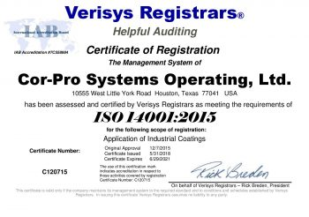 2018_Cor-Pro Systems ISO 14001 2015 Certificate 5-31-2018-page-001